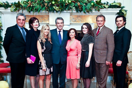 Cast members from Downton Abbey with Ambassador and Lady Westmacott
