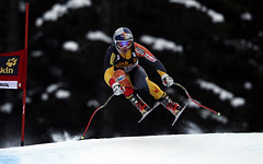Erik Guay during World Cup downhill training in Val Gardena, Italy.