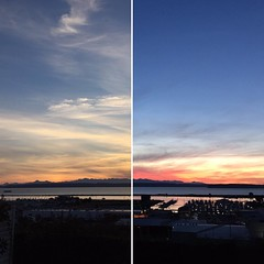 6:51p.m. | 7:20p.m. #everettsunsets #everettwa #sunset #pnw #pnwonderland #everchanging #olympics #whidbeyisland #jettyisland #weyerhaeuser #splitscreen #itgetsbetter