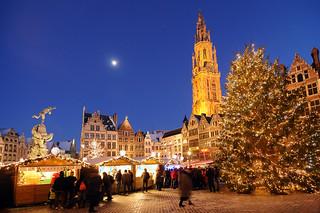 Mercado navideño, en Amberes.