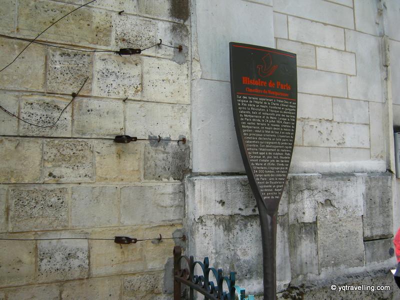 Plaque about Cemetiere de Montparnasse