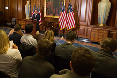 Speaker John Boehner delivers remarks from the Rayburn Room of the U.S. Capitol on efforts to avert the fiscal cliff and the need for both parties to find common ground and take steps together to help our economy grow and create jobs, which is critical to solving our debt. November 7, 2012.   -