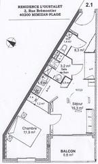 Location de vacances Loustalet, Appartement à Mimizan-Plage au 2nd étage, à 100m de la mer