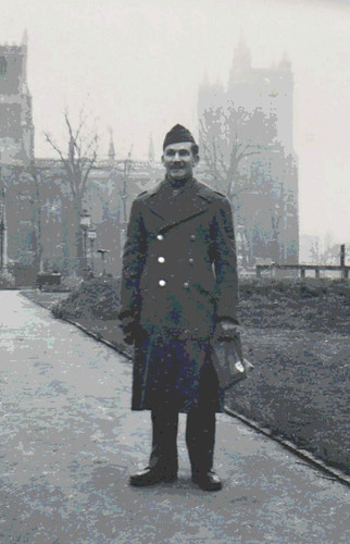 Dad in England WWII (Rescued and Posterized Snapshot) by randubnick