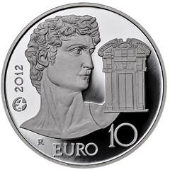 Italy 10 Euro on Michelangelo obverse