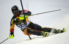 Julien Cousineau during World Cup slalom in Levi, Finland.