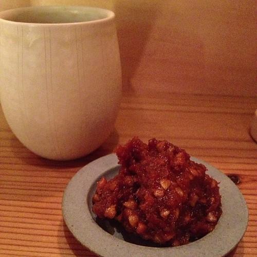 そば味噌と今朝しぼり