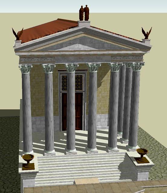 3D reconstruction of the Temple of Divus Antoninus Pius and Diva Faustina, Upper Via Sacra, Rome