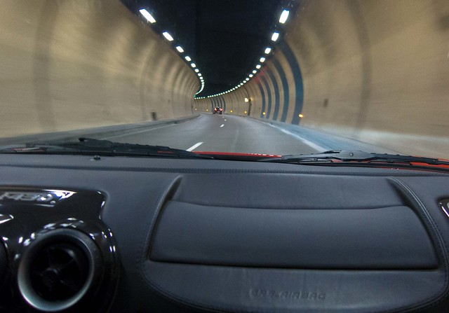 Driving through a tunnel in Monaco, en route to the French border