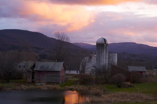 november sunset sky orange white reflection building clouds barn landscape pond vermont pawlet