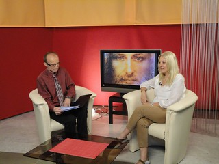 Vassula being interviewed at TV EXODUS