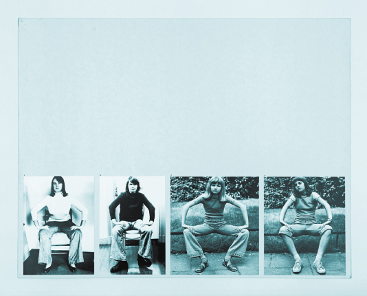 A page from Wex's work. At the bottom of a large white page are four photos of women sitting. They are purposefully sitting with their legs apart with their hands resting on their knees, mimicking the way that men often sit in public places. The photos are shot from the same distance which brings out the repetition of the form and stance.