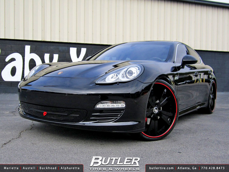 Porsche Panamera with 24in Forgiato Aguzzo Wheels and Forgiato Grille