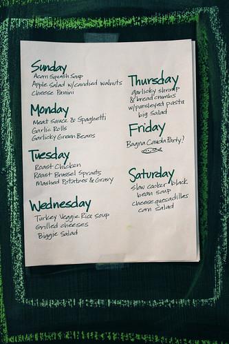 Meal Plan, week after Thanksgiving