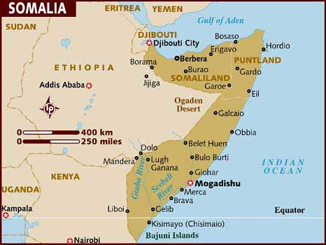 A map of the Horn of Africa nation of Somalia on the east coast of the continent. The state has undergone tremendous upheaval over the last three decades or more. by Pan-African News Wire File Photos