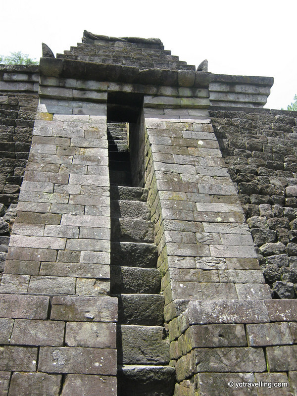 Stairs to rooftop bar of Candi Sukuh