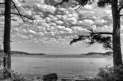 trees vacation blackandwhite water rock clouds bay nikon pacificnorthwest pugetsound sanjuanislands pnw tranquil suciaisland mountainrange echobay viewfromthewoodssuciaislandsanjuanislands