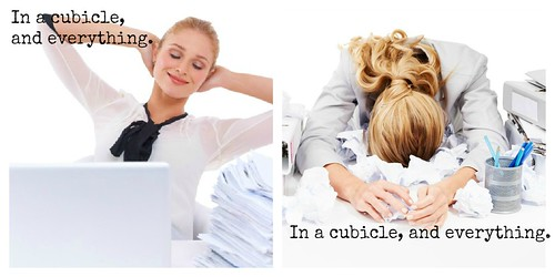 In a cubicle, and everything. Vs. In a cubicle, an everything.
