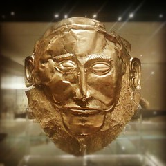 """It is as if I have gazed upon the face of Agamemnon's twin brother, Larry"" - Replica of Agamemnon's death mask at the Ashmolean Museum."