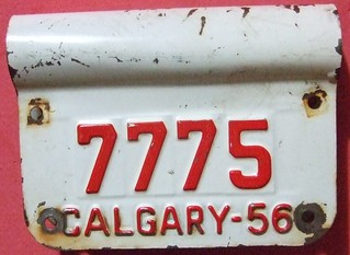 CALGARY, ALBERTA 1956 ---BICYCLE LICENSE PLATE DOUBLE SIDED