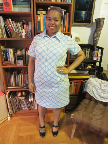 1X/2X Light Blue Zip Front Poly Dress $40 (#16)