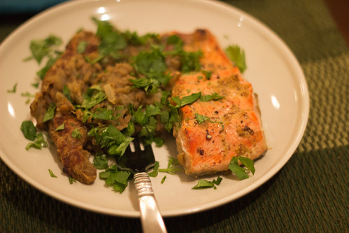 Salmon, Lentils