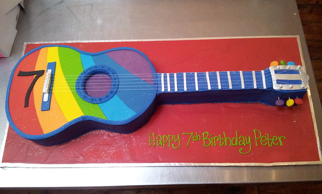 3d rainbow acoustic guitar shaped cake a photo on flickriver. Black Bedroom Furniture Sets. Home Design Ideas