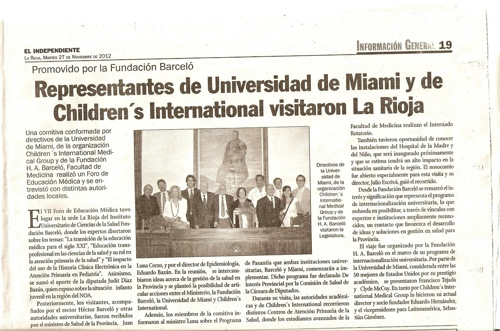 El Independiente - Visita Universidad de Miami y Childrens International - 27.11.2012