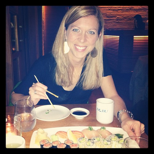 Carolyn introducing me to my first sushi! So yummy!!
