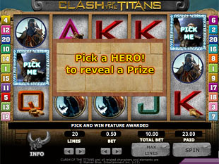 free Clash of the Titans slot Pick and Win Feature