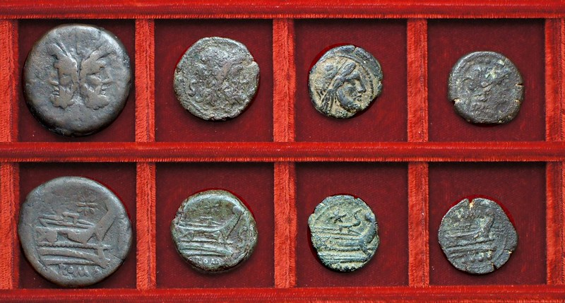 RRC 113 star as, semis, imitative semis RRC 113R star triens (not RRC 196), Ahala collection, coins of the Roman Republic