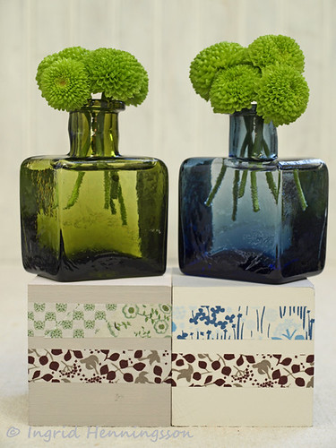 Sarah Raven Green and Blue Ink Bottle Vases on Wooden Blocks