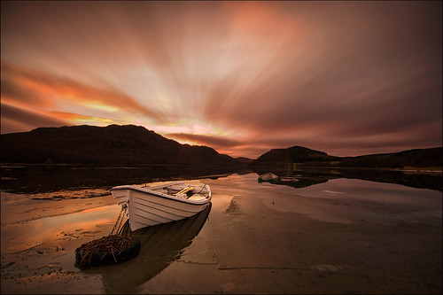 old sunset night clouds boats boat highlands movement long exposure cloudy scottish loch sunk ruthven