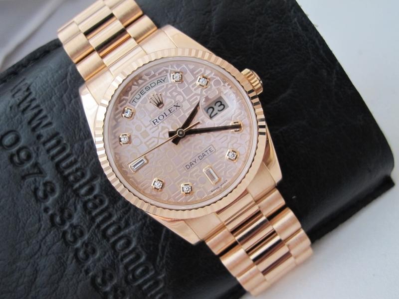 Bán đồng hồ rolex day date 6 số 118235 – mặt vi tính xoàn – vàng hồng 18k – size 36