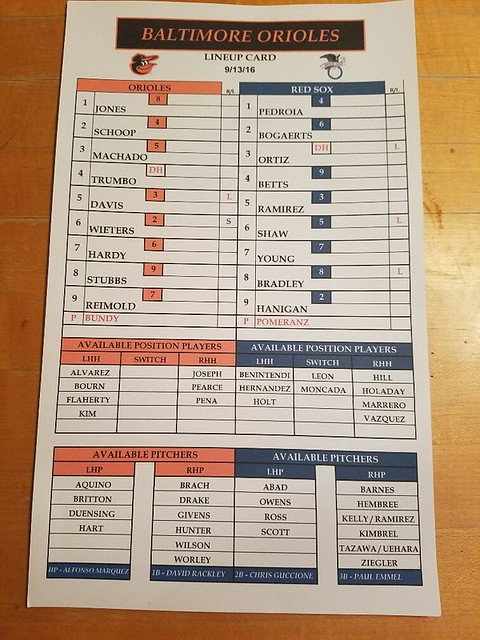 Red Sox-Orioles (Sept 13, 2016)
