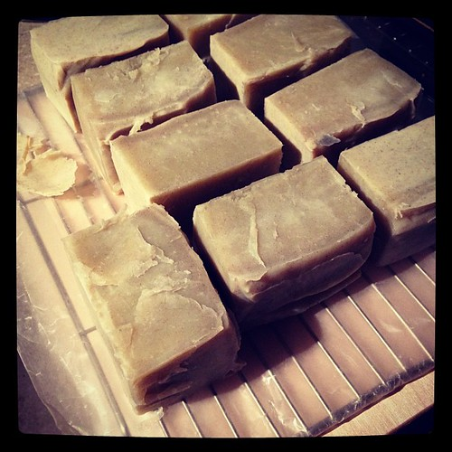 Unmolded homemade peppermint kelp vegan soap #soap