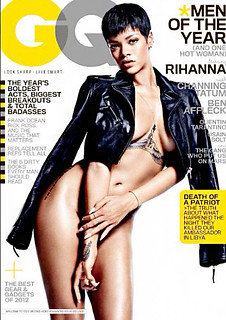RIHANNA SEXY GQ MAGAZINE COVER DEC 2012 MEN OF THE YR ISSUE . Rihanna is damn near naked on the cover of GQ men of the year issue