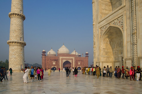 Outside the Taj Mahal