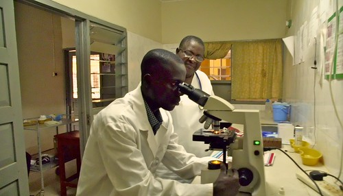 The laboratory at St John's Health Centre, Domeabra, Ghana