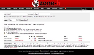 zone-h screenshot of webgrrrl.net hacking