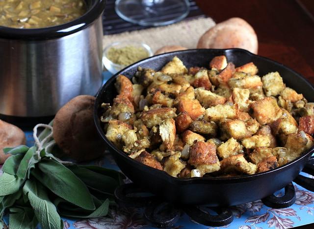 Sage Stuffing and Shiitake-Shallot Gravy