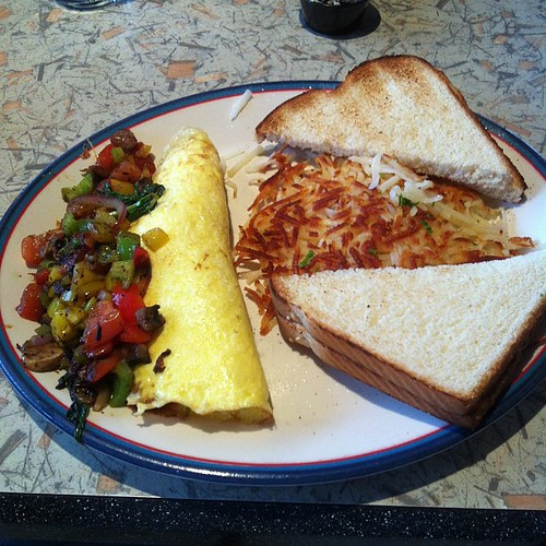 Vegetarian omelette at Ricky's. #yegfood by raise my voice