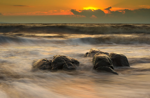 ocean sunset sea sun water clouds rocks waves sweden halland mygearandme rememberthatmomentlevel1