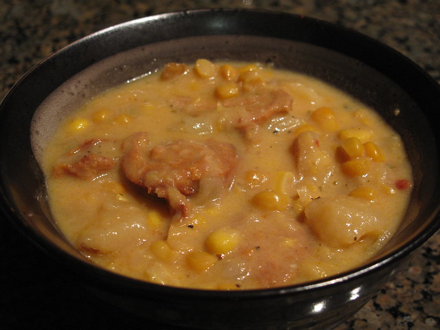 Corn Chowder with Spicy Italian Sausage