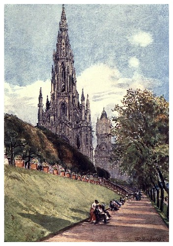 013-Monumento a Walter Scott-Edinburgh, painted by John Fulleylove- 1904