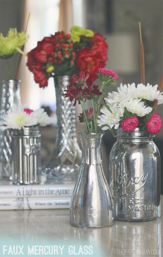 Faux Mercury Glass Vases DIY