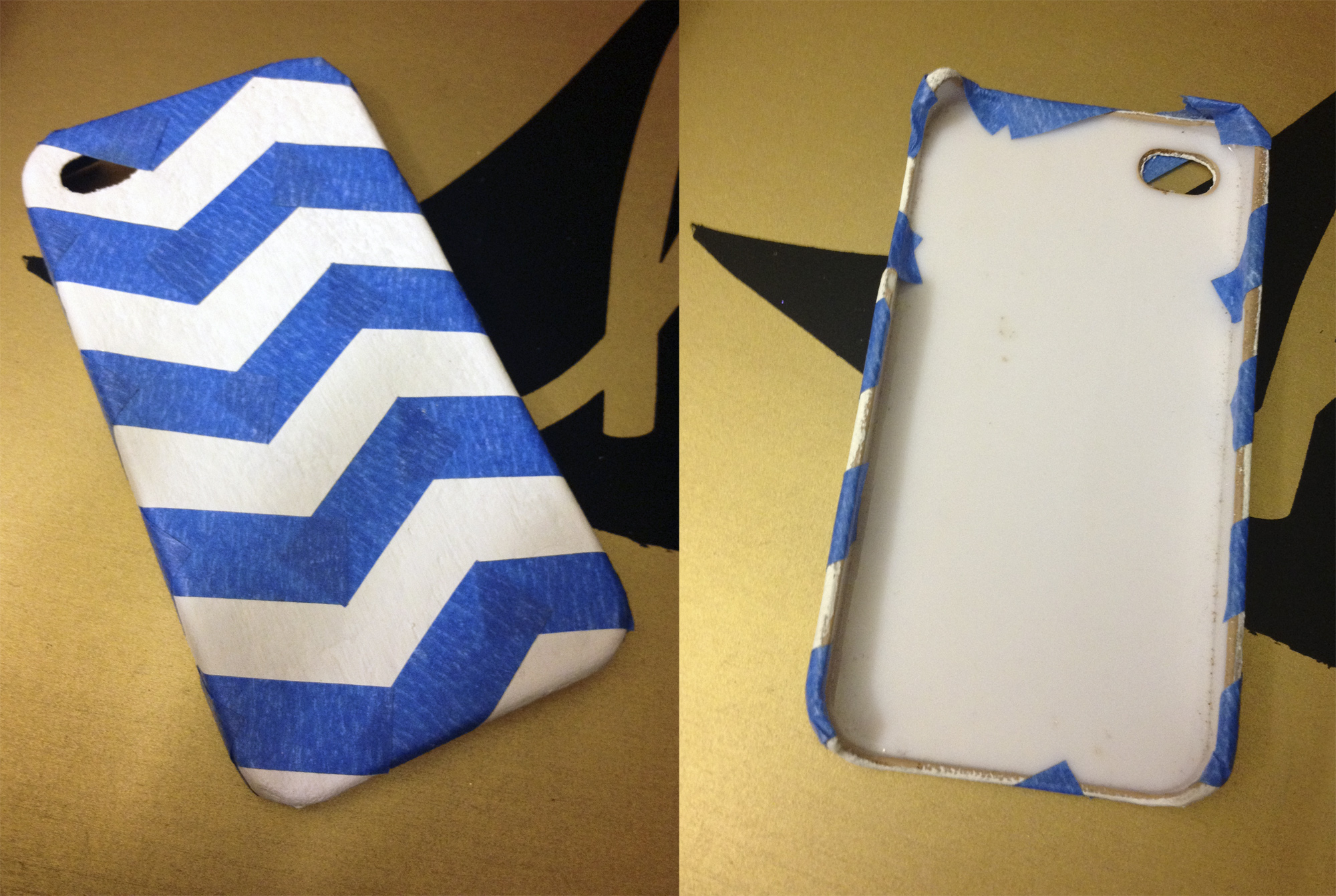 phone case makeover - tape off a chevron pattern