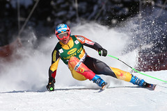 Jan Hudec in action during World Cup super-G in Lake Louise.