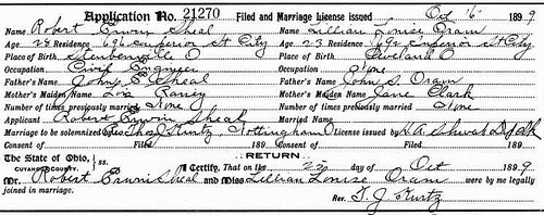 Sheal-Oram Marriage License
