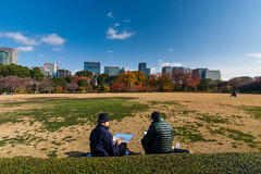 Two artists in Chiyoda park